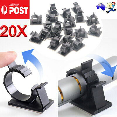 10-30X Cable Clips Adhesive Cord Black Management Wire Holder Organizer Clamp