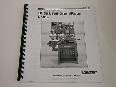 Hunter BL501 & BL505 Disc & Drum Brake Lathe Operating & Instruction Manual