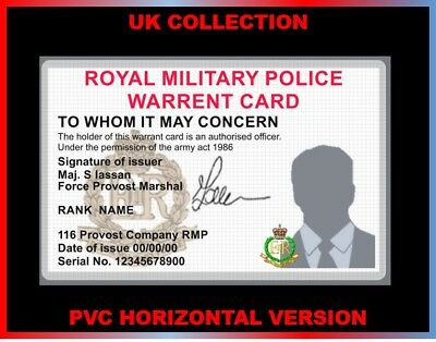 royal military police RED CAP...  UK ID COLLECTOR CARD