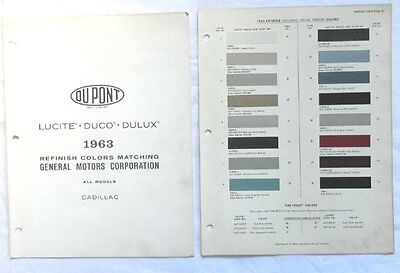 1963 Cadillac Dupont Color Paint Chip Chart Book All Models