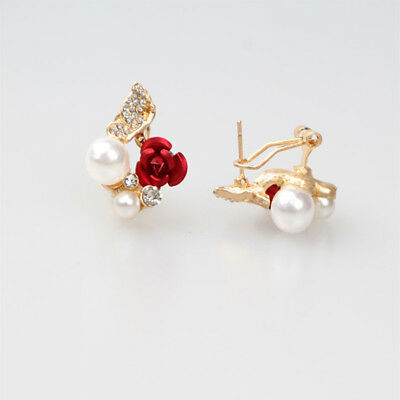 Women Red Rose Flower Imitation Pearl Gold Plated Crystal Stud Earrings LG