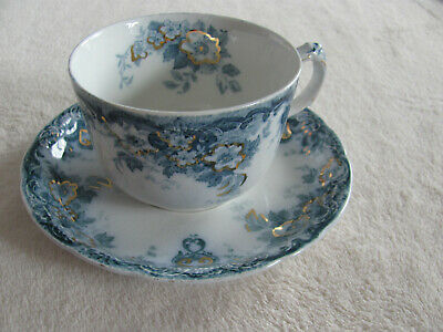 Alfred Meakin-Richmond Blue-Flowers,Scrolls -10 oz Cup & Saucer + 1 Cup