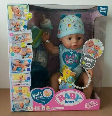 BNIB Baby Born Soft Touch Interactive Boy Doll Zapf Dark Blue