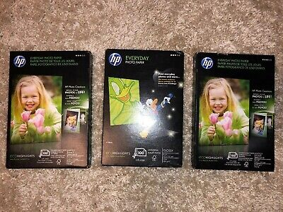 """HP Everyday Photo Paper Glossy 4"""" x 6"""" (100 Sheets ea.) CR759A - LOT OF 3"""