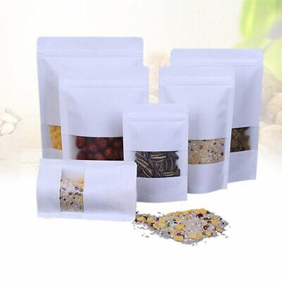 10/50Pcs Kraft Paper Bag Stand Up Pouch Zip Lock Resealable Window Display ZX