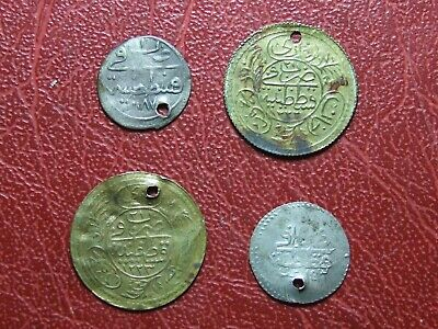 Turkish Ottoman Empire 2 silver 2 copper 1223AH  1187AH 1143AH coins to identify