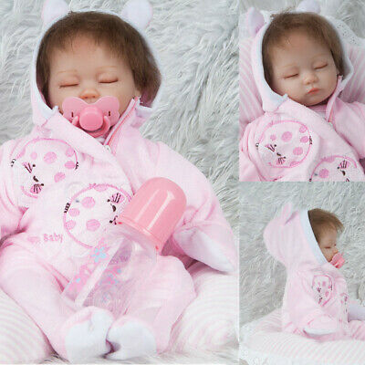 "Full Body Silicone Realistic Reborn Newborn Baby Doll 18"" Lifelike Baby Girl New"