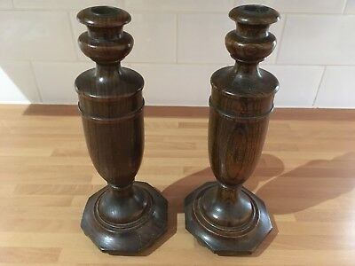 lovely vintage pair of wood candlesticks with hexagonal base app 11.1/2ins tall