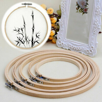 Wooden Cross Stitch Machine Embroidery Hoop Ring Bamboo Sewing 13/17/21/24/27cm