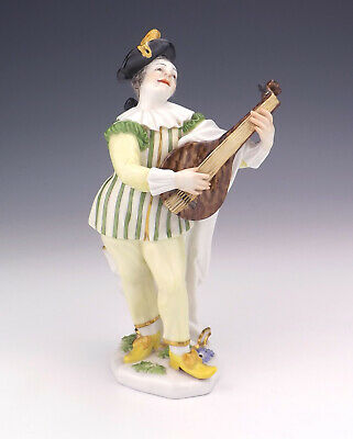 Antique Meissen Dresden Porcelain - Lute Player Man Figurine - Lovely!