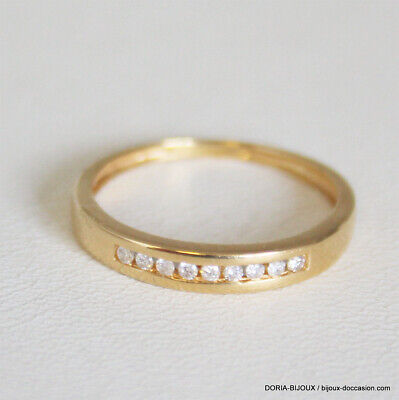 89043891a8d Bague Demi Alliance Or 750 18k 9 Diamants - 51 - Bijoux occasion