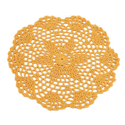 Round Handmade Lace Floral Crocheted Placemat Table Mat Cotton Doily Table LG