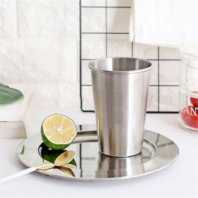 Portable Stainless Steel Drinking Glass Metal Tumbler Water Beer Drink Cup LG