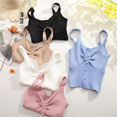 Women Lace Wrapped Chest Vest Tops Cotton Sexy Short Sling T-Shirt Blouse BS
