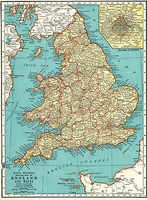 1936 Antique MAP of ENGLAND & WALES Map Gift Vintage United Kingdom Map 6421