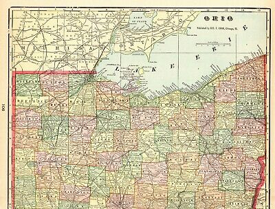 1905 Antique OHIO Map Vintage Original Map of Ohio State Map Gallery Wall 6427