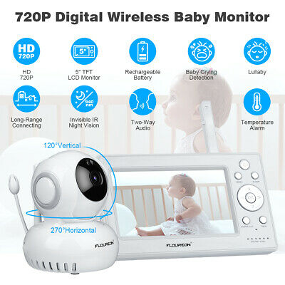"Lullaby Digital Funk Baby Video Monitor Babyfone 720P HD 5"" LCD IR 85"