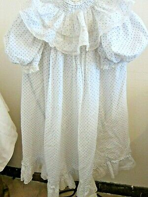 Antique French Child's HandStitched Smocked & Lace Ruffles Dress