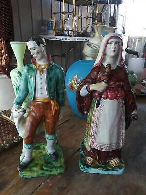 Pair Of Early Cantgalli 13 Inch Italian Faience Figurines