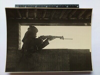 Antique Photo Belonged To 7877439 Watts Royal Tank Corp Image Of Soldier & Rifle
