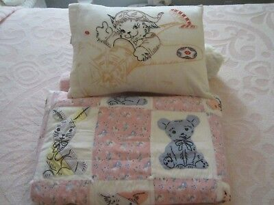 "Vintage Handmade Applique Baby Quilt  With Animals 34"" X 54"" & Baby Pillow"