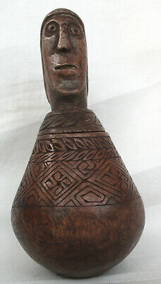 WOODEN BETELNUT CONTAINER TIMOR TRIBAL ARTIFACT -  late  20th  C.