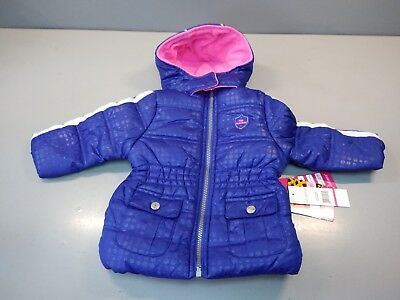 afb108987acf PINK PLATINUM BABY Girls Jacket Hooded Spry Foil Navy Puffer Coat 12 ...