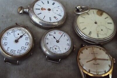 2 Antique Pocket Watches & Some Vintage Watches All For Spares Or Repair.