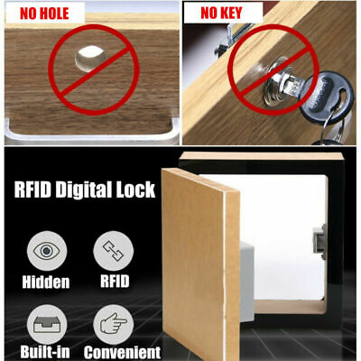Cabinet Drawer Hidden RFID Digital Battery Lock without Perforate Hole DIY + Key