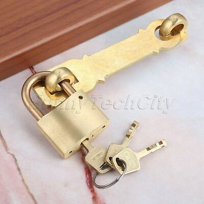 Vintage Security Buckle Safe Gate Padlock Latch Coffer Lock Keys Outdoor Home