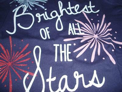 New 4th of July Girls Blue Short Sleeve T-Shirt (Brightest of all The Stars)