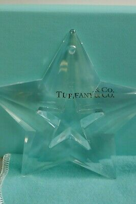 Tiffany & Co. Clear Crystal Open-Work Star Boxed Christmas Ornament - Signed