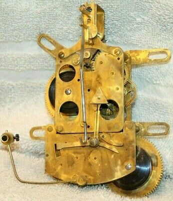 Antique Unusual Time & Strike Clock Movement. *good Part* Tested Well