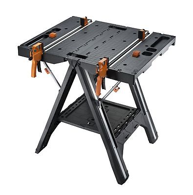 Multi Function Work Table Bench and Sawhorse with Quick Clamps & Holding Pegs