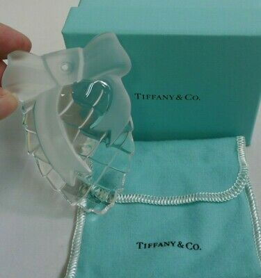 1995 Tiffany & Co. Crystal Pine Cone W/ Bow Boxed Christmas Ornament - Signed