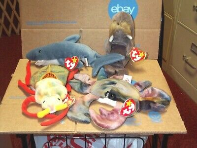 TY beanie baby babies Lot 4 Claude 1996 Jolly 1996 Crunch 1996 Scurry 2000 Mint