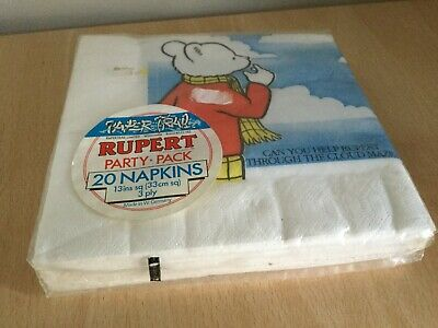 Vintage 1984 Express Newspapers Rupert Bear Party Pack 20 Napkins New
