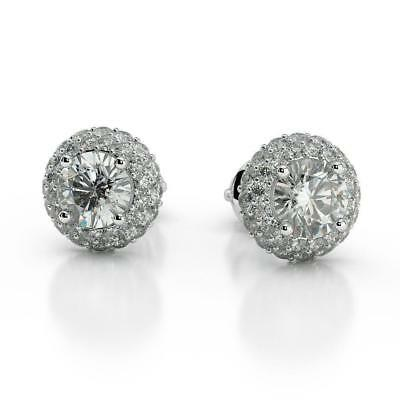Side Stones 2.00 Ct H Si1 Round Cut Diamond Halo Stud Earrings 14 K White Gold
