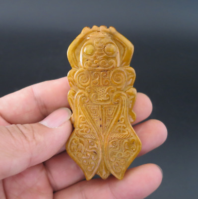 Old Chinese HongShan culture jade Hand-carved cicada amulet pendant Y1991