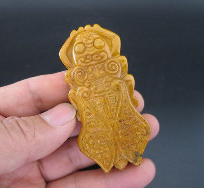 Old Chinese HongShan culture jade Hand-carved cicada amulet pendant Y2000