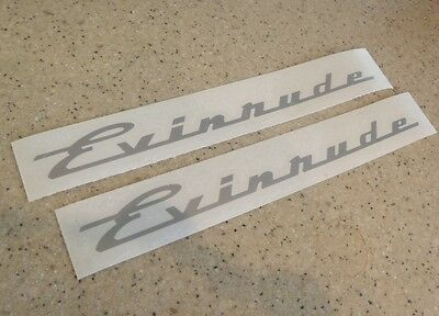 Evinrude Vintage Motor Decals SILVER 2-Pak FREE SHIP + FREE Fish Decal!