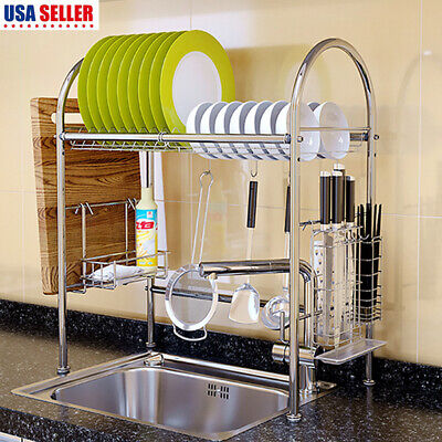 Over Sink Dish Drying Rack Drainer Stainless Steel Kitchen Cutlery