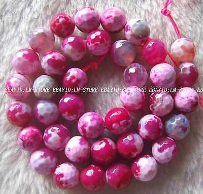 10mm Rose Red White Natural Agate Faceted Round Loose Beads Stone 15.5""