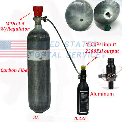 M18x1.5 CE 3L High Tank Air Cylinder&0.22L Air Bottle With 2200Psi Regulator US
