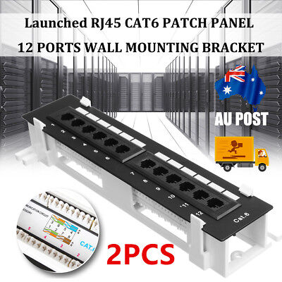 2x Cat6 12 24 Port Pro RJ45 110 Network Patch Panel w/Surface Wall Mount Bracket