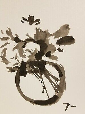 JOSE TRUJILLO ABSTRACT EXPRESSIONISM INK WASH Glass Peonies Flowers ART 9X12