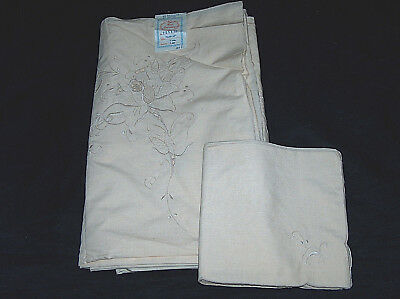 """NEW Vintage Hand Embroidered 72X90-18"""" Floral 9pc Dinner Tablecloth Napkin Set"""