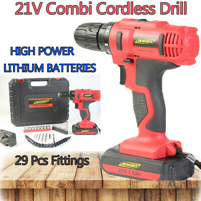 Heavy Duty 21V Cordless Combi Drill Driver Screwdriver & Battery In Case