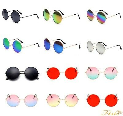 Round Vintage Retro Hippy Cyber Goggles Steampunk Mens Womens Sunglasses
