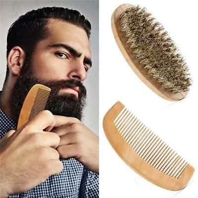2pcs Men Hard Wood Handle Comb Boar Hair Bristle Beard Mustache Brush LG
